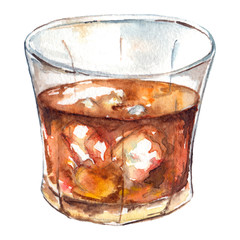 Watercolor rum whiskey ice alcohol cocktail isolated