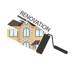 Concept renovation illustrations.House remodeling,flat design ho