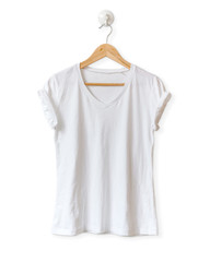 White blank T-shirt isolated on white background.