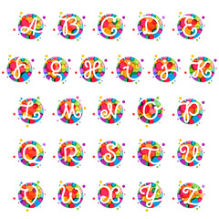 Alphabet letters in circle with rainbow dots.