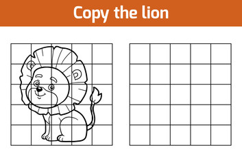 Copy the picture. Cartoon character of lion
