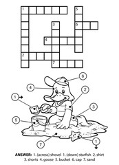 Vector colorless crossword. Goose on the beach