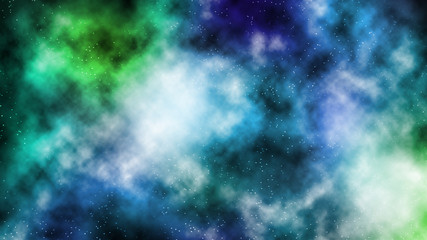 Colorful galaxy smog abstract background in blue and green tone