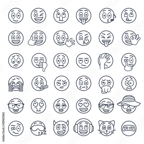 Smiley Face Thin Lines Flat Vector Icons Set Emoji Emoticons