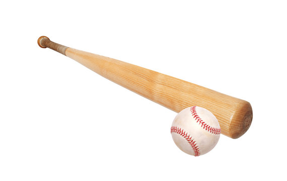 baseball ball and bat isolated on white