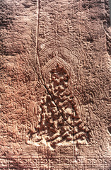 Erased sculpture on the panel in Angkor what,Siem Reap,Cambodia.
