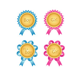 Vector of Medal for Baby announcement with Its a Boy or Its a Girl text