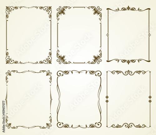Vector vintage calligraphic frames set. Vintage frame, calligraphic ...