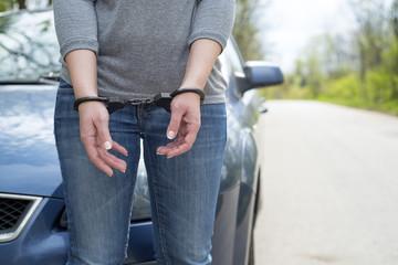 Women handcuffed criminal police