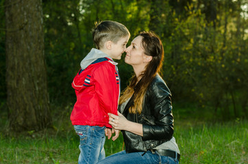 Little boy and mother happy