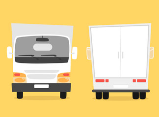 Set of cargo truck. Cartoon vector illustration. Moving van