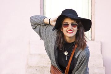 fashion girl in city street