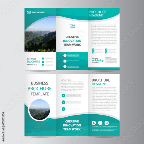 green polygon vector trifold leaflet brochure flyer template, Presentation templates
