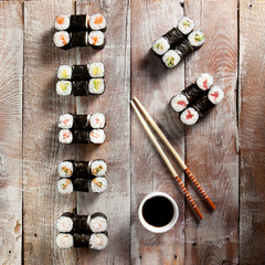 Maki Sushi Set with Soy Sauce