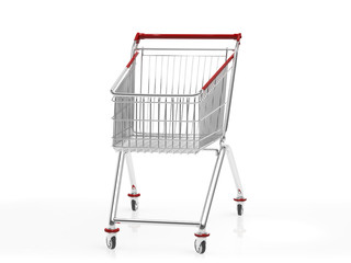 A shopping cart isolated on white.3D rendering.