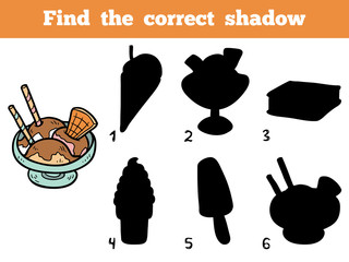 Find the correct shadow. Vector color ice-cream