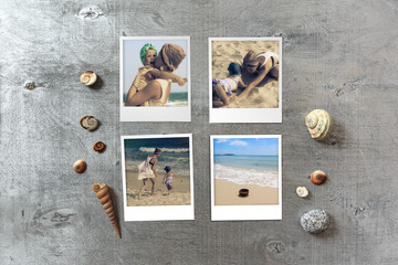 Beautiful seaside snapshots arranged on rustic wooden background with seashells around