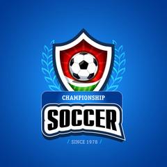 Soccer, football logo. Green, red and dark blue soccer football badge logo design template, sport logotype template. Soccer Themed T shirt. Football logo. Vector illustration.