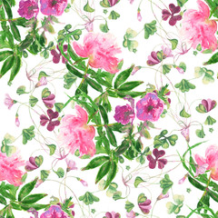 Watercolor seamless pattern with peony