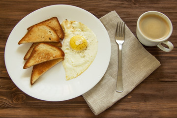 fried eggs with toast and coffee