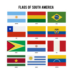 South America Continent Flag Pack. A hand drawn scratched flags with a grunge texture.