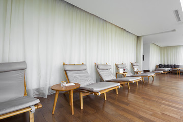 deck chairs in relaxation room . beautiful view