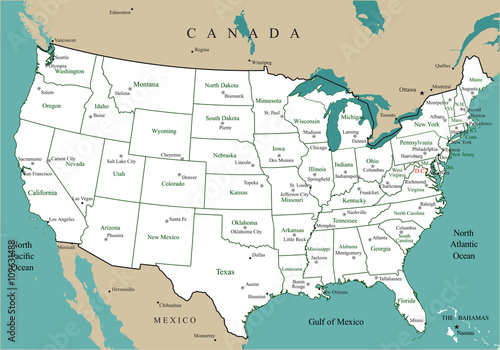 USA map with states and major cities and capitals\