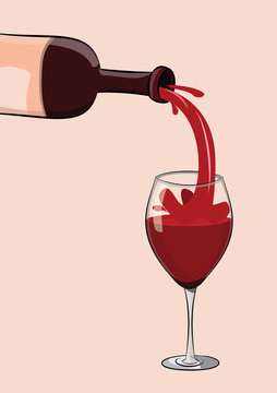 vector illustration of red wine bottle pouring to glass. eps 10