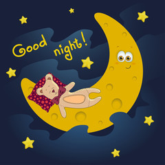 Good night card with moon and cute teddy. Vector illustration