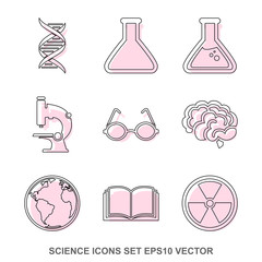Set of Science Crimson icons. EPS 10, vector illustration.