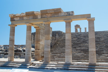 Colonnade with portico  the main temple of Lindos Rhodes Greece