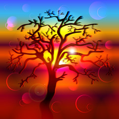 Silhouette of hand drawn tree on a background of bright colorful sunset. Vector illustration.