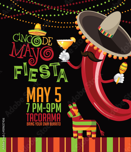 Cinco De Mayo Bunting Background Ad Signage Card Invitation