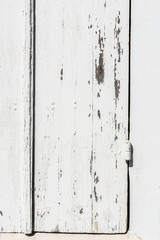 Weathered white wooden door with paint chipped and peeling.