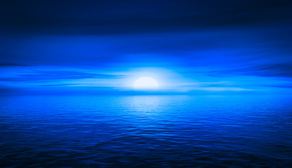 Blue space sunset