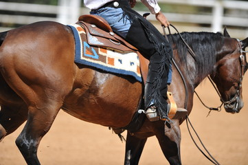 Fragment of the side view of a rider in the chaps on a horseback during the NRHA competition.