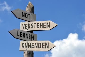 Not, verstehen, lernen, anwenden - signpost