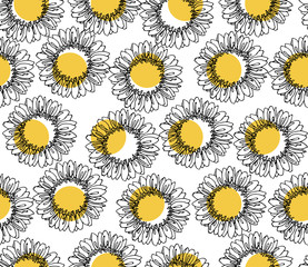 seamless pattern of sunflower polka dot yellow