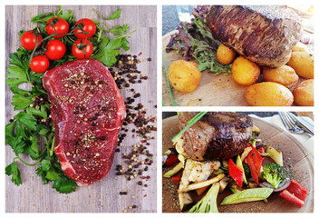 Collage set of Raw and Grilled Beef Steak Meat , baked potatoes and vegetables. Cooking background