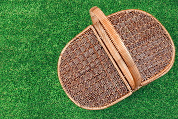 Picnic Basket On The Summer Lawn, Top View