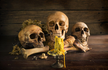 Many skulls on pile weathered leaf, still life style