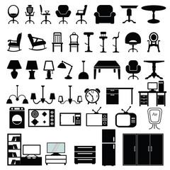 Elegant Vector Furniture Icons Set.