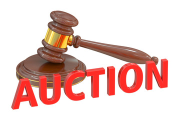 Auction concept with wooden gavel, 3D rendering