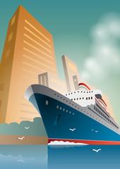 Summer travel cruise ship. City landscape. Vintage art deco poster illustration.