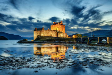 Eilean Donan Castle in Scotland during blue hour