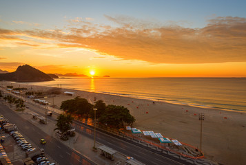 Sunrise on Copacabana and Leme beach in Rio de Janeiro, Brazil