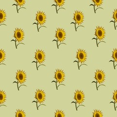 Seamless pattern sunflowers green, vector