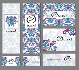 Set of business cards templates with oriental flowers ornament.