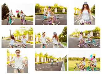 Collage of happy man and woman riding bicycle at holiday