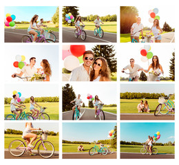 Collage of happy couple in love riding bicycle with balloons
